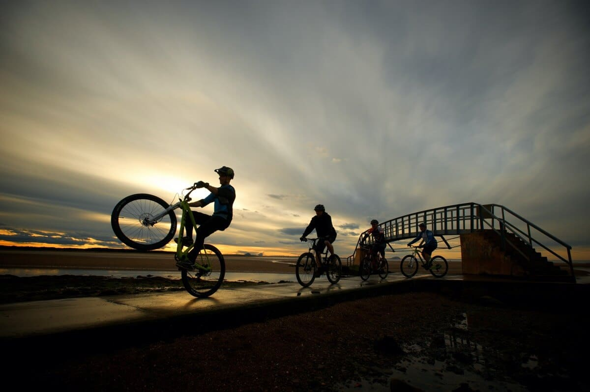 Mountain Bikers at the Bridge to Nowhere, Belhaven, Dunbar Client: East Lothian Council Rob McDougall Professional Photographer and Film Maker Edinburgh