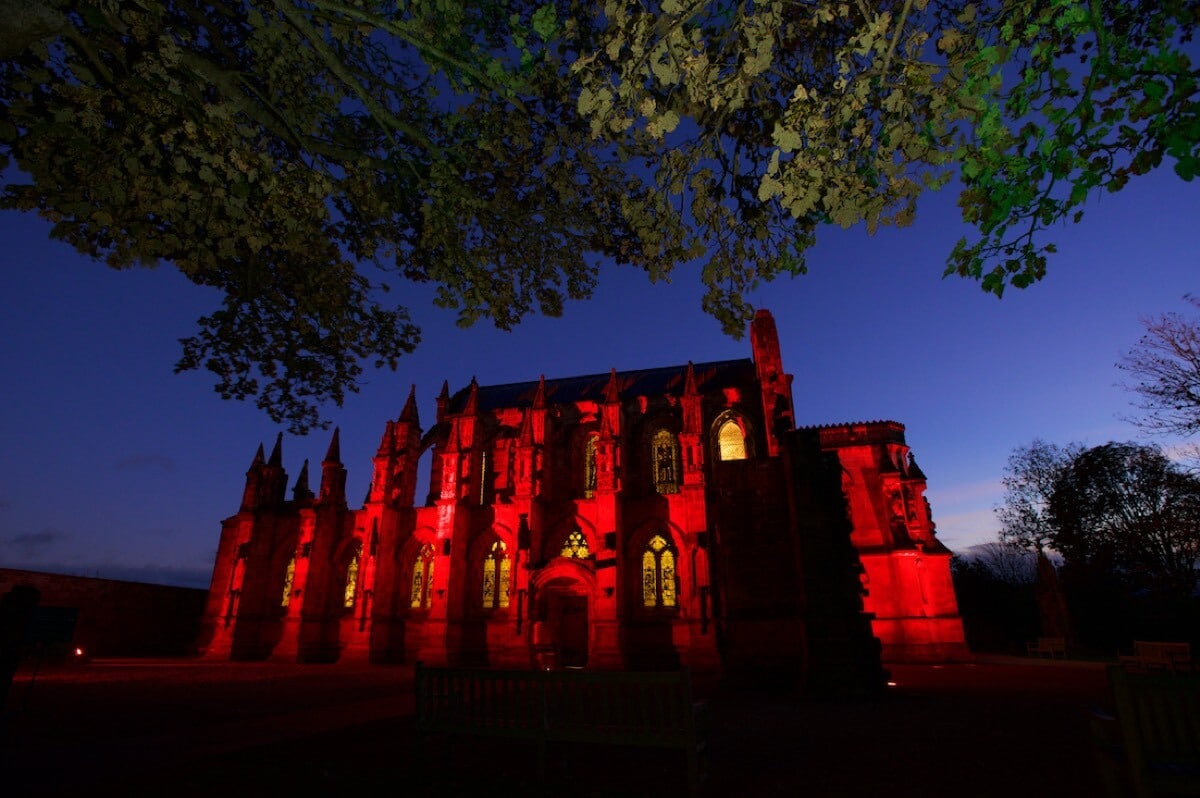 Rosslyn Chapel lit red. Client: Rosslyn Chapel Trust Rob McDougall Professional Photographer and Film Maker Edinburgh